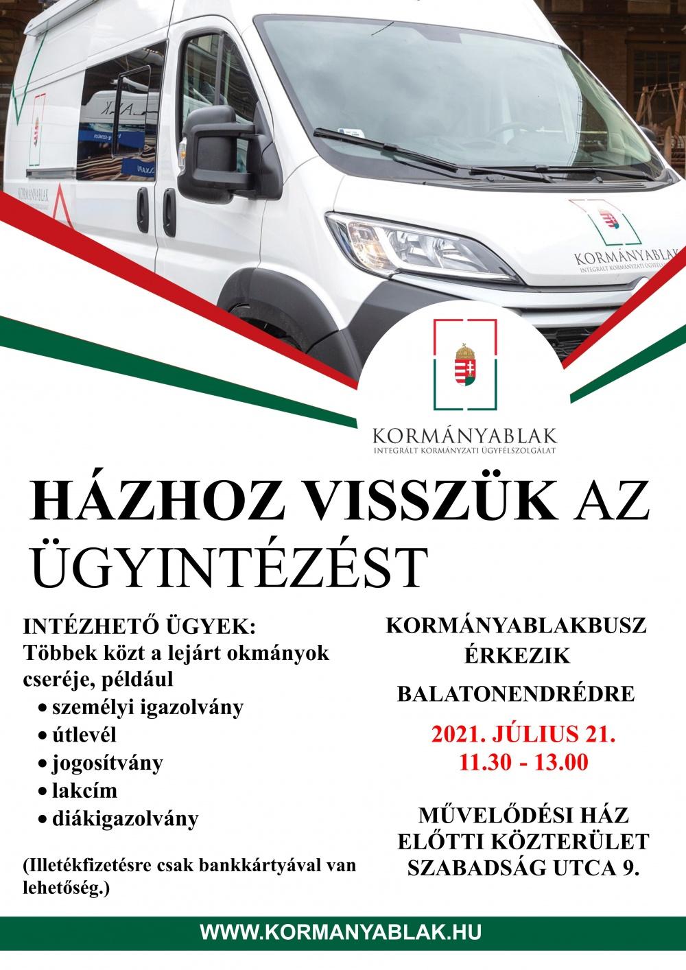 Kormányablakos busz érkezik Balatonendrédre 2021. 07. 21-én!