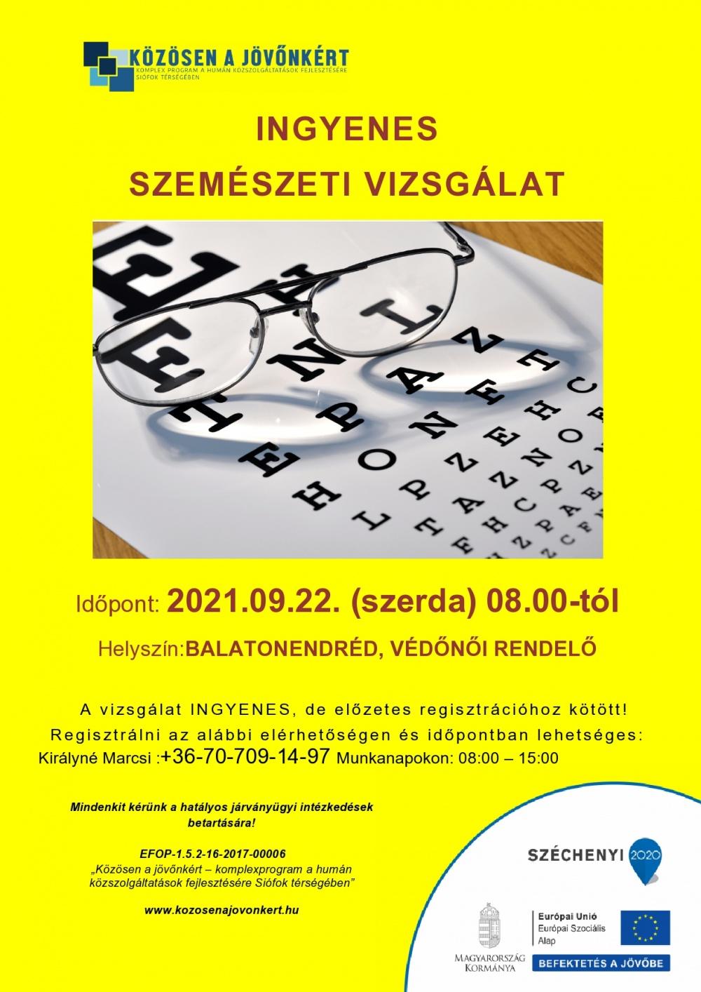 Ingyenes szemészeti szűrővizsgálat Balatonednréden!